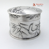 .Bamboo Dresser Jar Chinese Export Silver Tuck Chang Shanghai 1880