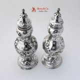 .Thistle Salt and Pepper Shakers 1850 Robert Rait John C Moore Coin Silver