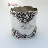 . Rose Scroll Napkin Ring Large Gorham 1900 Sterling Silver Big Joe