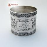 .Rosette Napkin Ring Coin Silver 1875 Monogram LPN