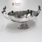 .Squirrel Wild Rose Centerpiece Bowl J. R. Wendt Sterling Silver 1860 Monogram W