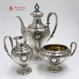 .German Ornate Coffee Set Föhr 800 Standard Silver 1870 Monogram Crown K