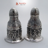 .Figural Salt and Pepper Shakers Sterling Silver 1890