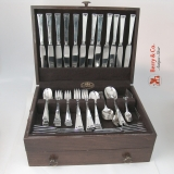 .Chinese Key 89 Piece Dinner Flatware Set Sterling Silver Allan Adler