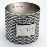 .Basket Weave Napkin Ring Wood Hughes Coin Silver 1881