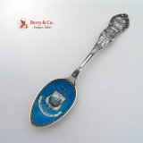 .Enamel Bowl San Francisco California Souvenir Spoon 1900 Sterling Silver
