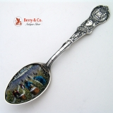 .New Orleans Black Americana Cotton Pickers Souvenir Spoon Enamel Bowl  1900