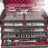 .Large Ornate Extensive Flatware Set Wilkens 800 Silver 1890