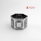 . Hexagonal Napkin Ring 1850 Leonard Wilson Coin Silver Floral Repousse