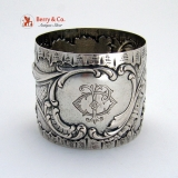 .Repousse Floral Scroll Napkin Ring Coin Silver 1875 Monogram JO