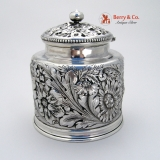 .Repousse Chryanthemum Inkwell Gorham Sample Sterling Silver Cut Glass 1890 No Monogram