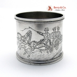 .Russian Troika Napkin Ring 84 Standard Silver St Petersburg 1895 No Monogram