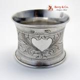.Russian Napkin Ring Engraved Heart Ivan Sveshnikov 1871 Moscow 84 Standard Silver No Monogram