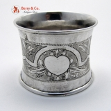 .Russian Napkin Ring Engraved Apple Ivan Sveshnikov 1870 Moscow 84 Standard Silver No Monogram