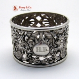 .Chinese Export Dragon Open Work Napkin Ring Wo Shing 1880 Monogram HB