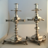 .Spanish Colonial Silver Altar Candlesticks Baroque Figural 1700