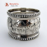 .Architectural Coin Silver Napkin Ring 1850