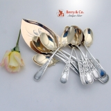 .Ice Cream Set 12 Spoons 1 Server Ivy Pattern Sterling Silver 1870