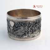 .Chinese Export Landscape Napkin Ring Sterling Silver 1890