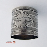 .Engine Turned Coin Silver Napkin Ring 1871