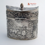 .Dutch 830 Standard Silver Village Scene Tea Caddy 1890