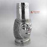.Figural Head Cocktail Shaker 900 Silver Peru