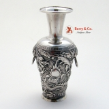 .Silver in the Chinese Style Fighting Dragon Vase c.1900