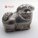 .Chinese Export Silver Foo Dog Large Box 1890