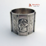 .Large Medallion Coin Silver Napkin Ring 1860