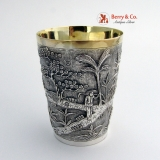 .Chinese Export Landscape Cup Sterling Silver 1890