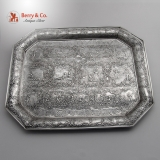 .Dresser Tray Repousse Court Scenes 800 Silver 1890