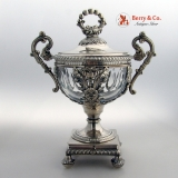 .French Drageoir 950 Sterling Crystal Courtois 1835