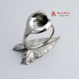 .Figural Calla Lily Napkin Ring Whiting Sterling Silver