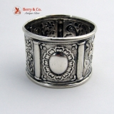 .Floral Repousse Napkin Ring Coin Silver 1860 No Monogram