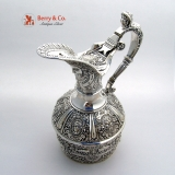 .Renaissance Revival Hot Water Jug Masks Caryatid Handle 1880 Silverplate
