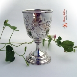 .Repousse Floral Goblet Beaded Rims Coin Silver 1860