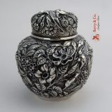 .Repousse Tea Caddy Sterling Silver Jacobi and Jenkins Baltimore