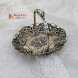 .Ornate Grape Swing Handle Basket Cupid Bow Arrow Sterling Silver 1900