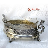 . Wheel and Brilliant Cut Glass Silver Gilt Caryatid Center Bowl Bruckmann 1890