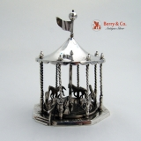 .Miniature Carousel Sterling Silver French Import Marks 1880
