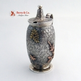 .Mixed Metals Ivy Leaf Mustard Pot Dominick and Haff 1880 Sterling Silver