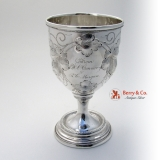 .Grape and Vine Chased Goblet Coin Silver 1860