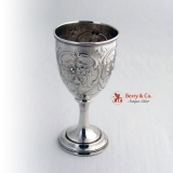.Floral Repousse Goblet Coin Silver 1860