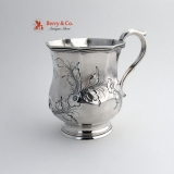.OctagonalCoin Silver Mug Floral Repousse Decorations 1856