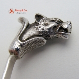. Leopard Head Gravy Ladle Stag Crest 800 Italian Silver Monogram G