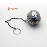 .Figural Walnut Tea Ball Coin Silver 1880