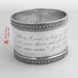 .Tiffany Napkin Ring Coin Silver 1870 Wonderful Inscription