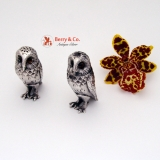 .Figural Owl Salt and Pepper Shakers Sterling Silver