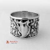 .Unger Floral Repousse Napkin Ring Double Wall Sterling Silver 1900 No Monogram