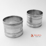 .Engine Turned Napkin Rings Cora Ursula Coin Silver 1870